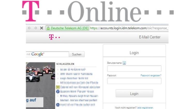 Startseite des T-Online E-Mail Centers