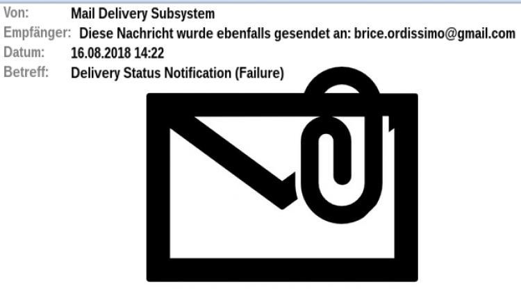 Eine Gesendete E-Mail kommt zurück